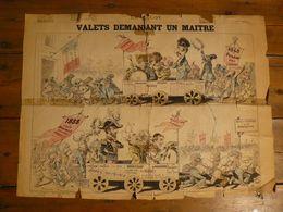 """Affiche Du Journal """"Le Grelot"""" Du 25 Mars 1888. Valets Demandant Un Maître. 64 X 56.5 Cm. - Documents Historiques"""