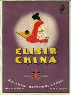 """8669 """" ELISIR CHINA S.A. LUIGI BETTITONI & FIGLI-DISTILLERIA-ANCONA  """" - Cm. 15,6 X 11,5 - Etichette"""