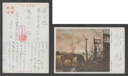 JAPAN WWII Military Horse Picture Postcard CENTRAL CHINA WW2 MANCHURIA CHINE MANDCHOUKOUO JAPON GIAPPONE - 1943-45 Shanghai & Nanjing