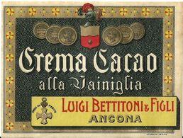 """8670 """" CREMA CACAO ALLA VANIGLIA - LUIGI BETTITONI & FIGLI-ANCONA  """" - Cm. 9,8 X 12,9 - Etiquettes"""