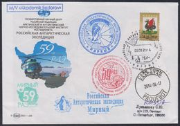 """RAE-59 RUSSIA 2013 COVER Used ANTARCTIC STATION """"MIRNY"""" SHIP FEDOROV HELICOPTER TRANSPORT CAPE TOWN PAQUEBOT Mailed - Expediciones Antárticas"""
