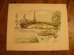 Lithographie ? Le Pont Alexandre III Paris. Signé Guillery. 47 X 37 Cm. - Litografia