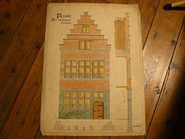 Gouache Et Plume, Dessin Facade Rue Des Carmes Tournai. Signé J.Caillez. 69 X 51 Cm. - Estampas