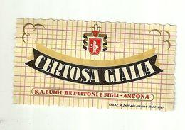 """8686 """"CERTOSA GIALLA - S.A. LUIGI BETTITONI & FIGLI-ANCONA  """" - Cm. 3,6 X 6,5 - Labels"""