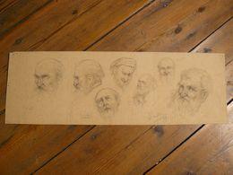 Dessin, Têtes D'hommes. Signé J.Caillez 1933. 56.5 X 18.5 Cm. - Dessins