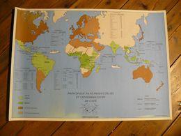 Carte Géographique. Principaux Pays Et Consomateurs De Café. 67.5 X 58 Cm. Comité Français De Café. Imp: Marie Lise Ques - Geographical Maps