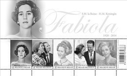 Blok 223** Herdenkingsuitgave H.M. Koningin Fabiola 4485/89** / Hommage à S.M. La Reine Fabiola - Bélgica