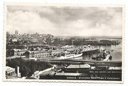 XW 3055 Genova - Stazione Marittima - Porto - Panorama - Navi Ships Bateaux / Viaggiata 1952 - Genova (Genoa)