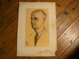 Portrait D'homme, Signé Klein Tiger. 55 X 26.5 Cm. Hors Tout 63 X 54 Cm. - Dessins