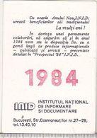 Romanian Small Calendar -1984 - INID - Petit Format : 1981-90