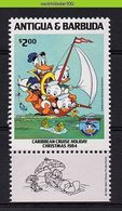 Myh944z WALT DISNEY ZEILEN VISSEN FISHING SAILING DONALD AT SEA ANTIGUA & BARBUDA 1984 PF/MNH - Disney