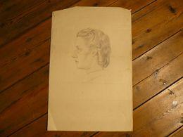 Dessin Au Crayon, Tête De Femme, 50 X 33 Cm. - Dessins