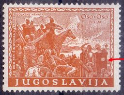 "KINGDOM JUGOSLAVIA -  ERROR  "" WHITE."" THE ARRIVAL OF THE CROATS- **MNH - 1940 - 1931-1941 Kingdom Of Yugoslavia"