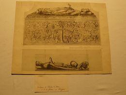 Dessin Au Crayon Et Plume, Tombeau De Philippe Le Bon Et Sa Femme. Brugges, Belgique. 41 X 32 Cm. - Dessins