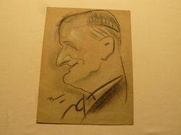 Dessin Au Crayon Gras, Fusain, Caricature D'homme. Signé B.... 31 X 23.5 Cm. - Dessins