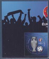 UEFA Euro 2016 Timbre à 2.00€ Neuf La Coupe (en Relief), Le Ballon, Le Logo Avec Coin Du Bloc, Vernis N°5050A - France