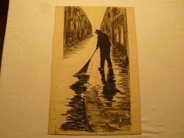 Dessin Au Crayon Gras, Fusain, Le Balayeur. Signé Charmady. 49 X 32 Cm. - Dessins