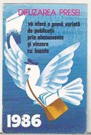 Romania Old 1986 Small Calendar - DP Difuzarea Presei - Petit Format : 1981-90