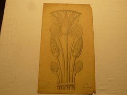Dessin Au Crayon, Fleurs Et Oiseaux. Signé Caillez. 1922. 57.5 X 27 Cm. - Dessins