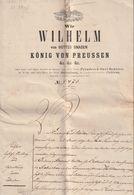 """Hist. Dokument / 1879 / Kaufact """"Wir Wilhelm ... Koenig Von Preussen"""", 10 Seiten, Stempelmarke, Papiersiegel (CA87-60) - Documenti Storici"""