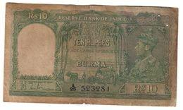 Burma 10 Rupees 1938 .J2. - Myanmar