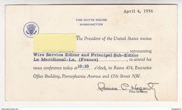 Etats Unis USA Année 1956 Mandat Eisenhower Invitation Président United States White House Journal Méridional Marseille - Documents Historiques