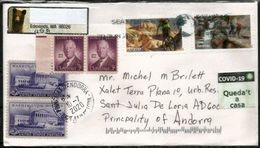 CORONAVIRUS / COVID19, Letter USA Sent ANDORRA W/arrival Local Prevention Sticker STAY HOME/QUEDA'T A CASA - Enfermedades