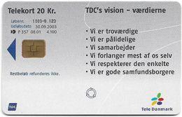 Denmark - Tele Danmark (chip) - Tdc's Visions - TDP357 - 08.2001, 4.100ex, 20kr, Used - Danemark
