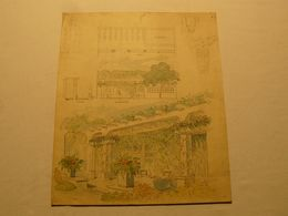 Dessin Crayon, Plume Et Gouache, Pergola. 37 X 31 Cm. - Gouaches