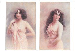 2 Cpa...illustrateur...art Nouveau...jeune Femme, Seins Nues Sous Déshabillé... - Ilustradores & Fotógrafos