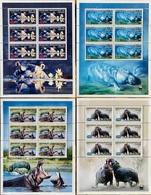 Stamps WWF Hippopotamus MNH Mini Sheets 6 Values/ Timbres WWF Hippopotame Perf - Nuevos