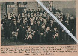 """HAMME..1937..MUZIEKMAATSCHAPPIJ """"DE NACHTHOORNS """"5 JARIG BESTAAN/ JULES ONSELAERE / JULIN VAN HECKSKI - Vieux Papiers"""