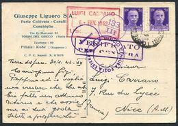 1942 Italy Liguoro Perle Coltivate, Torre Del Greco, Napoli Postcard - Nice France. Censor. Pearls - Marcophilia