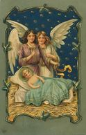 Art Card Embossed Cupids With Jesus . Crèche Nativité Noel . Gaufrée . Christmas - Other