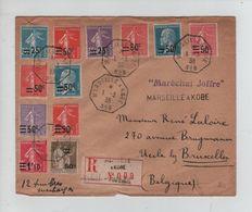 256PR/ Fance L.Recommandée C.Bateau Marseille - Kobe N°8 1/3/38 Griffes Maréchal Joffre & Marseille A Kobe > Belgique - Marcofilia (sobres)