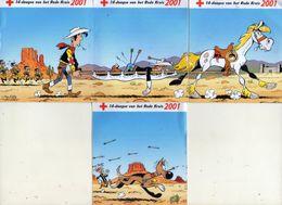 AUTOCOLLANTS . STICKER . 2001 . LOT DE QUATRE .SABENA . RODE KRUIS . CROIX ROUGE . . LUCKY LUKE . LES DALTONS - Stickers