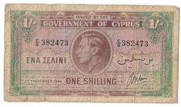 Cyprus 1 Shilling 25/11/1944 .J2. - Chipre