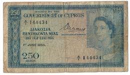 Cyprus 250 Mils 01/06/1955 Prefix A1 .J2. - Chipre