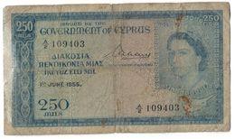 Cyprus 250 Mils 01/06/1955 Repaired .J2. - Chipre