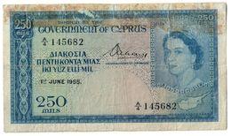 Cyprus 250 Mils 01/06/1955 .J2. - Chipre
