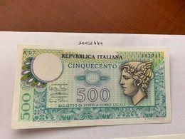 Italy Mercurio 500 Lire Uncirc. Banknote 1974 #8 - [ 2] 1946-… : Républic