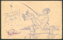 "1913 Dutch Indies JAVA SOERABAJA ""PROSIT"" Fishing Postcard - Laval France. - Indes Néerlandaises"