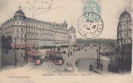 34 - Montpellier - Place De La Comédie Colorisée Magnifiquement Animée - ( Trams ) - Esplanade - Montpellier