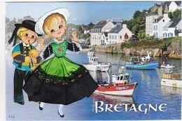 CARTE BRODEE:  BRETAGNE, Le Port - Bordados