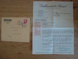 ENVELOPPE + DOCUMENT ETABLISSEMENT BRISSET ANGERS 1946 - Marcofilia (sobres)