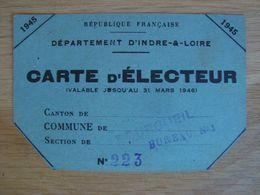PREMIERE CARTE D'ELECTEUR FEMININE 1945 DEPARTEMENT D'INDRE-&-LOIRE - Documenti Storici