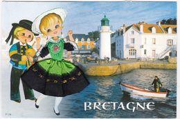 CARTE BRODEE:  BRETAGNE, Le Port, Le Phare - Bordados