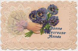 Superb Art Card Chromo Silk Hand And Flowers . Soie - Bordados