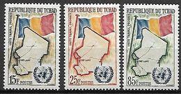 TCHAD.   1961 .  Y&T N° 63 à 65 **.    Admission Aux Nations-Unies./  Drapeaux - Tschad (1960-...)