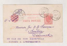 ROMANIA BUCURESTI 1903 Postal Stationery To Denmark - 1881-1918: Carol I